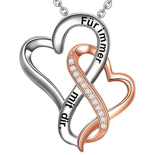 LOVORDS Damen Halskette Gravur 925 Sterling Silber Doppelherz Kette Anhänger Liebesgeschenke für Frauen Freundin