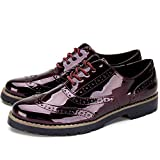 Zapatos de Cordones Oxford Derby para Mujer - Zapatos Brogue Mujer Negro, Zapatos Casual Mujer de Cuero Artificial, Apto para Todas Las Estaciones YKM001-WINERED-36