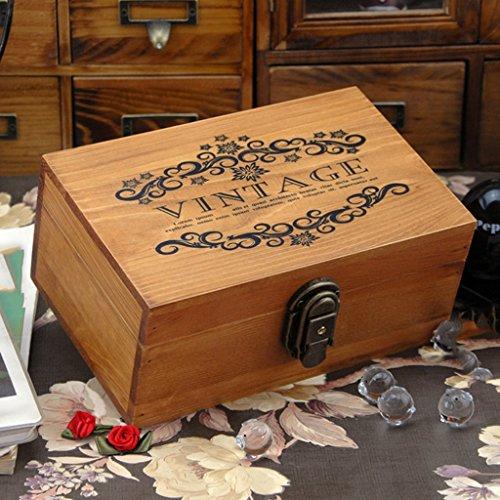 Cajas de Joyería Antiguo con Bloqueo Metal y Llave Pecho Baratija - Madera