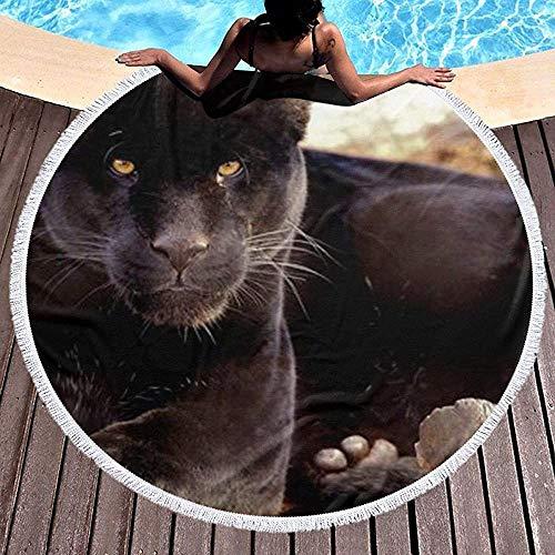 AEMAPE Una Alfombra de Picnic Redonda de Arte de Pantera Negra Manta de Toalla de Playa