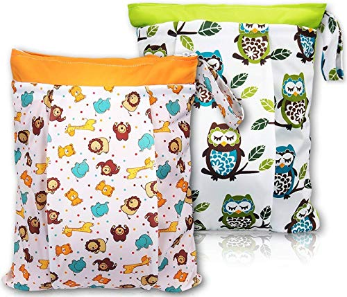 """BONTIME Wet Bag for Cloth Diapers - Double Pockets & Antislide Zippered Wet Dry Diaper Bags,12""""x 16"""",2-Pack,"""