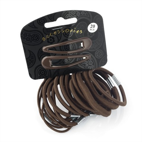 20 Piece Brown Hair Elastics Bobbles Bands and Hair Bendie Clips Set by Pritties Accessories