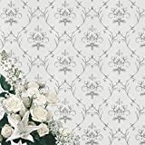 20.8''x394'' Damask Peel and Stick Wallpaper, White Grey Embossed Flash Sequin Removable Wallpaper, Damascus Flower Sliver Self Adhesive Wallpaper Removable, Living Room Bedroom Wall Paper Wall Roll