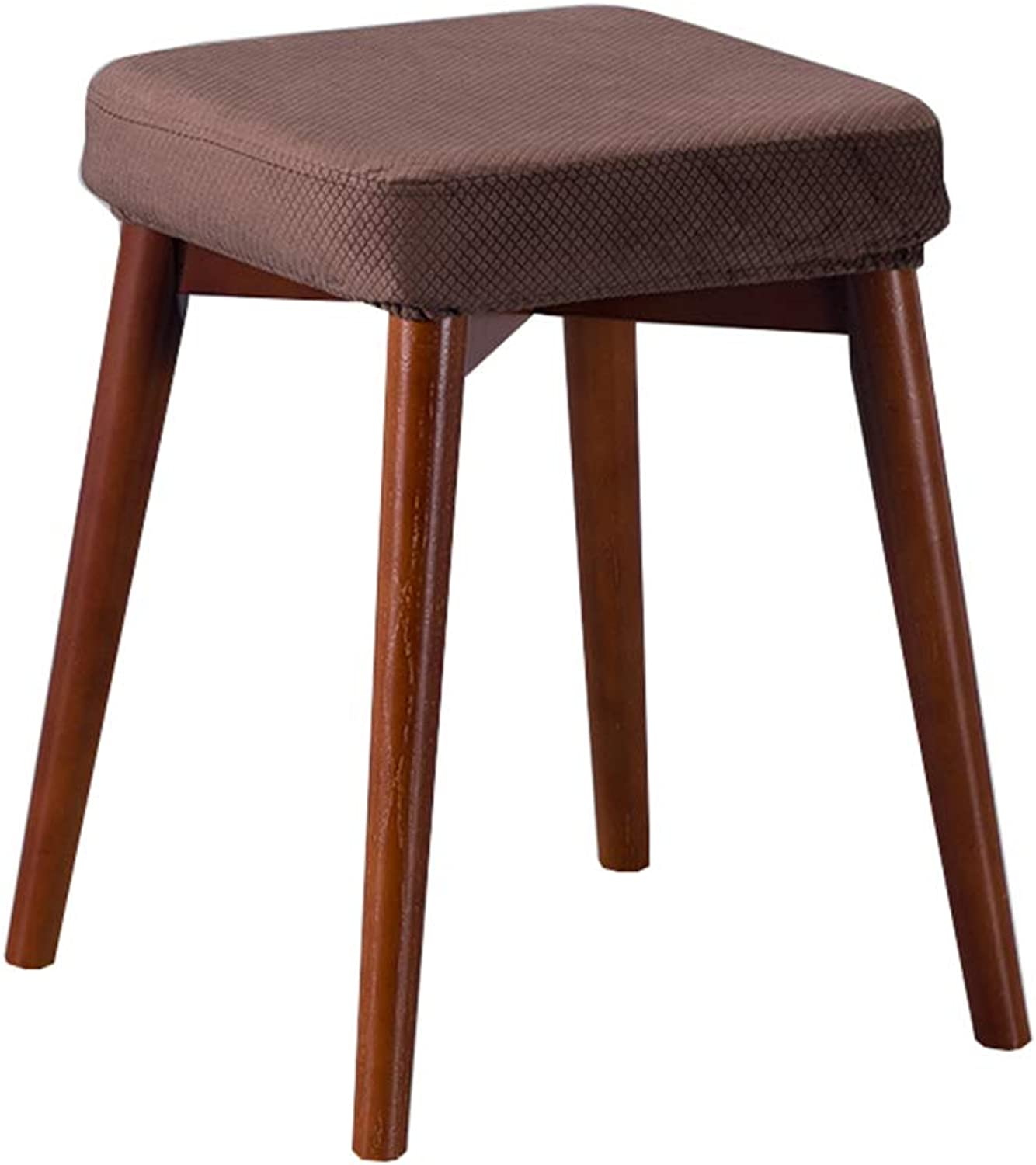 Solid Wood Square Stool Home Kitchen Bedroom Living Room Dining Table Mobile Stool (color   H)