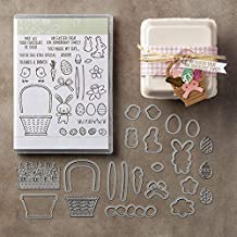1 Set Basket Rabbit Happy Easter Clear Stamps and Metal Cutting Dies Stencil for DIY Scrapbooking Photo Album Embossing Decorative Christmas Paper Card Making Craft Die