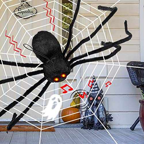 D-FantiX Giant Halloween Spider Motion Voice Activated, 4 Feet Large Light Up Spider with Web Realistic Fake Spider Electronic Scary Halloween Decorations Props Indoor Outdoor Yard