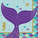 Amscan 501975 Beverage Napkins   Mermaid Wishes Collection   6.5' x 6.5'   16 pcs   Birthday