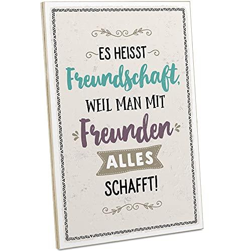 ARTFAVES® Holzschild mit Spruch - MIT Freunden SCHAFFT Man Alles/Vintage Deko Shabby Chic/Holzbild als Geschenk für Frauen & Männer