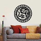HGFDHG Elementos Chinos creativos dragón Budista Arte de Pared DIY TV Fondo Sala de Estar Ventana Vinilo decoración de Pared