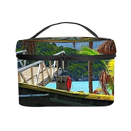 Cosmetische tas Waszak Ontvangstzak Oude Houten Boot, Labadee Haiti up Litchi lederen materiaal Anti-scratch en anti-fouling Geweldig Geschenk 25x18x15cm (9.8x7.1x5.9'')