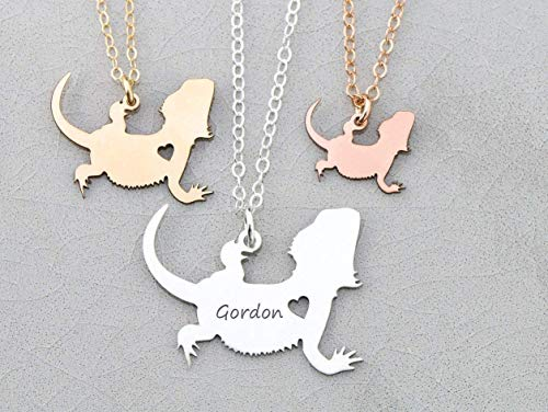 Bearded Dragons Necklace - IBD - Lizard Gift - Personalize Name - Pendant Size Options - Sterling Silver 14K Rose Gold Filled