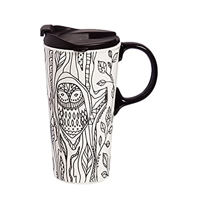 Adult Coloring Owl Porcelain Tumbler With Markers