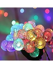 XVZ Lichtsnoer op zonne-energie, 50 leds, zonnelichtketting, wereldbol, buitenverlichting, kristallen bolverlichting, 8 modi, IP65 waterdicht, voor tuintuin, huis, feest, bruiloftsdecoratie, meerkleurig, meerkleurig