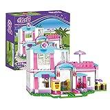 BRICK STORY Girls Friends House Building Blocks Toys Pink Beach Villa Swing Sun Lounger Building Kit Bricks Toys for Girls Dolls House Construction Play Set Educational Toys for Kids 319 PCS 4544