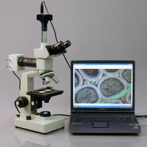 AmScope ME300TZB-2L-3M Digital Episcopic and Diascopic Trinocular Metallurgical Microscope, WF10x and WF20x Eyepieces, 40X-2000X Magnification, Halogen Illumination with Rheostat, Double-Layer Mechanical Stage, Sliding Head, High-Resolution Optics, Includes 3MP Camera with Reduction Lens and Software
