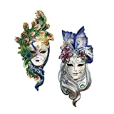 Design Toscano Peacock Feathers and Butterfly Wings Masks of Venice Wall Sculptures Polyresin, Set of 2, 13',...