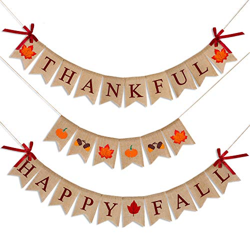 3 Pieces Happy Fall Thankful Burlap Banner Thanksgiving Fall Harvest Autumn Decorations Pumpkin Maple Leaf Acorn Banner for Thanksgiving Hanging Decoration