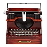 Lanceyy Caja de música con manivela, diseño clásico de máquina de escribir, de madera y metal, juguete