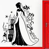 Hermosa princesa pegatinas de pared ventana pared cuento de hadas calcomanías de cuento de hadas guardería niña decoración del dormitorio