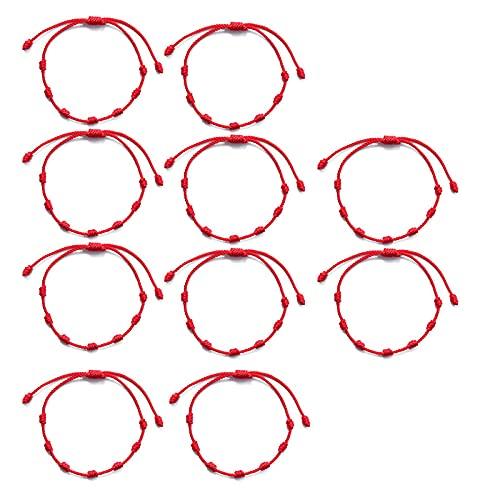 CHWEI Knitted Hat Pulseras para Mujer 10Pcs 7 Nudos Pulsera De Hilo Rojo Protección Buena Suerte para El Éxito Y La Prosperidad Pulsera De Amistad De Pareja A