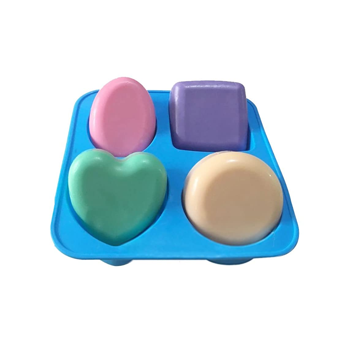X-Haibei Basic Plain Square Heart Oval Round Soap Bar Silicone Mold Candle Making for Homemade