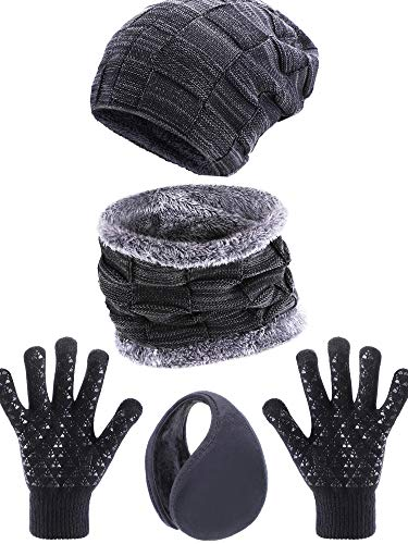 Tatuo 4 Pieces Ski Warm Set Includes Fleece Lined Hat Beanie Circle Scarf Winter Ear Warmer and Gloves for Adults Kids (Color Set 1)