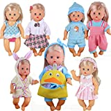 Young Buds 8pcs for 8-9-10 Inch Baby Doll Clothes Dress Newborn Baby Doll Accessories Gown Costumes Outfits with Schoolbag Xmas Gift-wrap