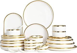 Assiette à dîner cadeau Vaisselle en céramique Ensemble de vaisselle à bordure dorée Ensemble de riz Bol à soupe Vaisselle...