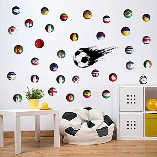 Football Foot/baller Sticker Mural pour enfants gar/çons chambres Salon d/écoration de la chambre Murale Sport Maison Stickers Muraux Pour Gym 55 70 cm