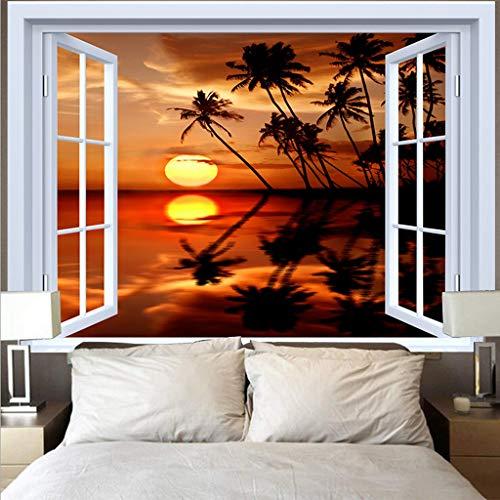 EDESY tapizTapiz de Ventana de océano Azul Hippie Playa árbol de Coco Tela de Pared Colgante de Pared tapices de Puesta de Sol alfombras Alfombra de Techo decoración del hogar
