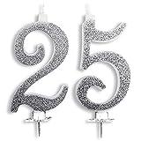 Velas Maxi 25 años de boda, fiesta de cumpleaños, 25 años   Decoración de velas para tarta de aniversario o cumpleaños   25 años de edad   Fiesta temática   Altura 13 cm plata con purpurina