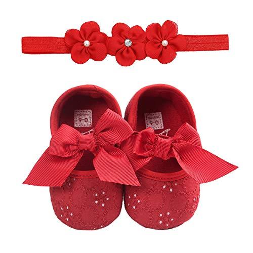 Bebé niña bautizo infantil Bowknot princesa antideslizante suela suave prewalker, Juego rojo., 12 Meses
