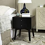 Safavieh Home Collection Lyla Mid Century Retro Black and Silver Nightstand