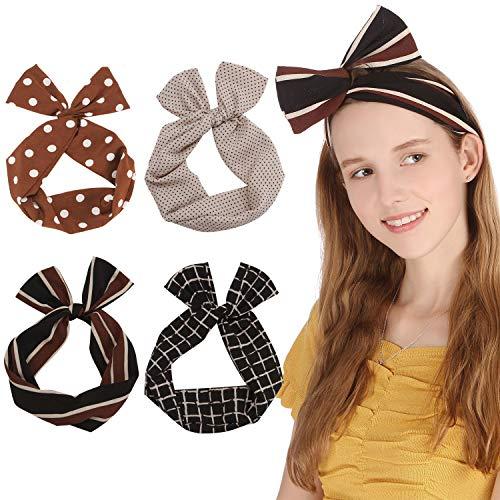Sea Team Twist Bow Bandeaux Filaires Écharpe Wrap Cheveux Accessoire Hairband (4 Packs)