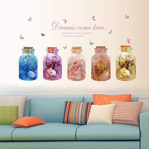 Muurstickers gekleurde glazen vaas muur stickers, balkon haak slaapkamer achtergrond versierde muurstickers