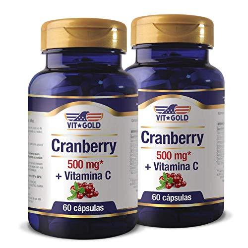 Cranberry 500mg + Vitamina C Vitgold Kit 2x 60 cápsulas