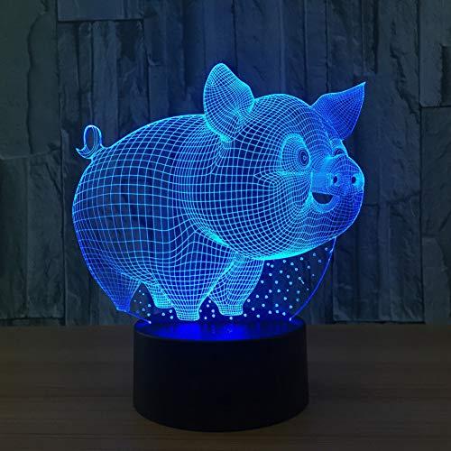 QAZEDC 3D nachtlampje leuk 3D varken model tafellamp LED USB sensor nachtverlichting LED sculptuur decoraties lamp als Bedr Slee lamp (gratis verzending)