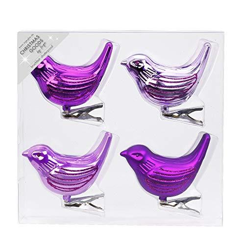 Inge-glas 4 STK. Christbaumschmuck Vögel Kunststoff 8cm Weihnachtsschmuck Christbaum Deko Weihnachten Weihnachtsbaumschmuck, Farbe: violett - lila Glanz/matt