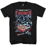 STAR WARS Darth Vader Dark Side Crunch Cereal Funny Humor Pun Adult Men's Graphic Tee T-Shirt (Black, Large)