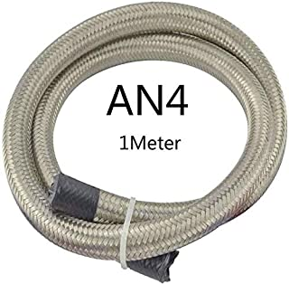 Elegdy Car Oil Cooler Hose Stone AN4-AN12 1M Universal Racing Hose Line Double Stainless Steel Braided Oil Fuel Line (Colo...