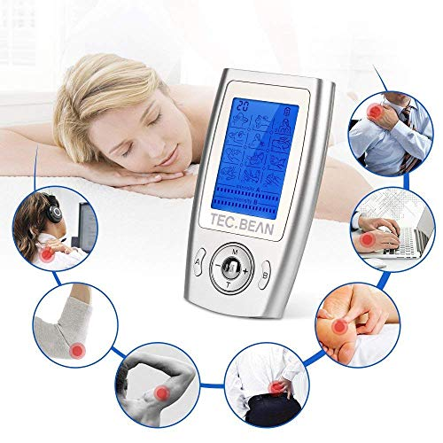 TEC.BEAN Tens Machine Rechargeable Tens Unit Impulse Mini Massager with Pre-Programmed Modes, Controlled A/B Channels with 8 Pads for Pain Management, Back Muscle Pain Relief and Rehabilitation