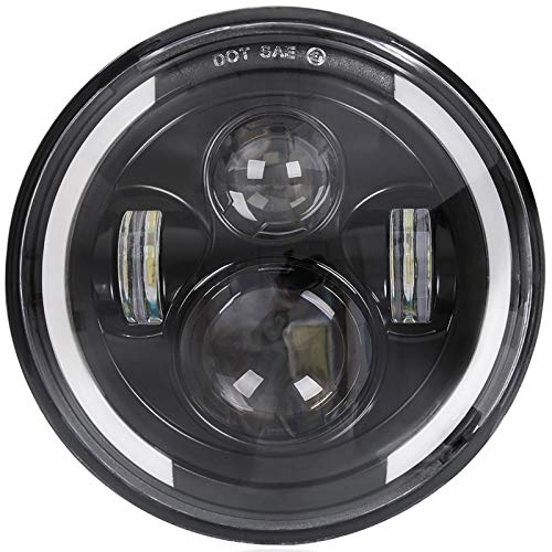 Zmoon 7 Inch Round LED Motorcycle Headlight with 75W Cree Hi/Low Beam, Amber & White DRL Halo Ring Angle Eyes for Harley Davidson Daymaker/Touring/Softail/FLD etc. (1 Pack)