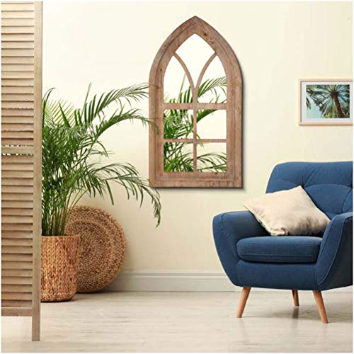 Glitzhome Gothic Style Arched Windowpane Wall Mirror Window Frame 40' H, Brown
