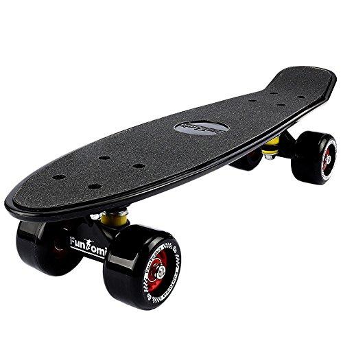 FunTomia® Skateboard 57cm - Big Wheel Ruote 70x42mm - Retro Mini Cruiser (Nero)