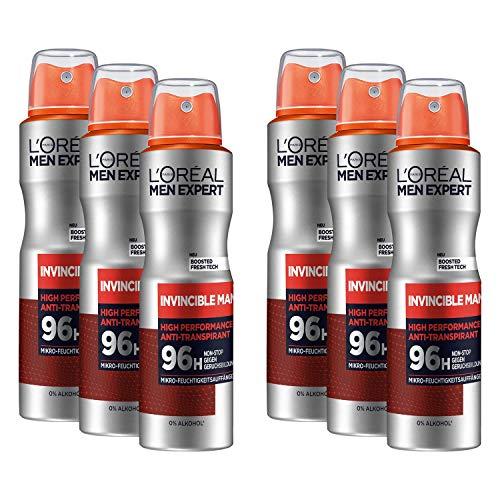 L'Oréal Men Expert Deo für Männer, Effektives Deospray gegen Geruchsbildung für bis zu 96 Stunden Frische, Invincible Man, 6 x 150 ml