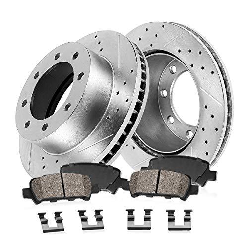 Callahan CDS02395 REAR 358.26mm D/S 8 Lug [2] Rotors + Ceramic Brake Pads + Hardware [ fit Dodge Ram 2500 Ram 3500 ]