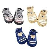 Z-Chen Pack de 3 Pares Zapatillas para Bebé con Suela Antideslizante, Gris +...