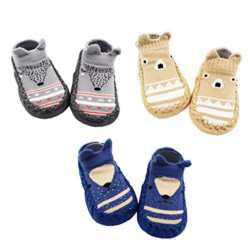 Z-Chen 3 Paar Lauflernschuhe Krabbelschuhe ABS Socken Babyschuhe Antirutsch, Grau + Braun + Dunkelblau, 6-12 Monate