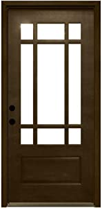 Craftsman 9 Lite Stained Mahogany Wood Entry Door