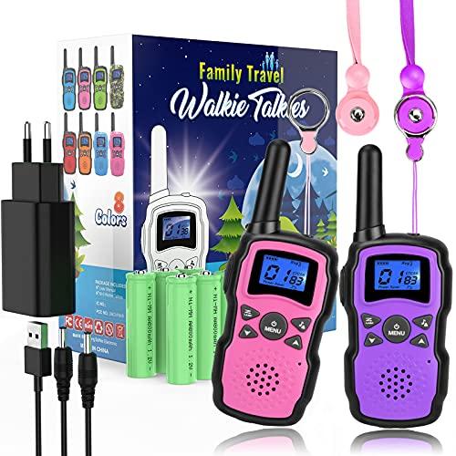 Wishouse Walkie Talkie Kinder USB Aufladbar mit Akku 2X3000mAh, Walki Talki 2er, Funkgerät mit Taschenlampe Lanyards, Camping-Spiele Kinderspiele Geburtstagsgeschenk Mädchen ab 3-12 Jahre Rosa Lila